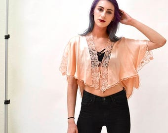 SALE 80s 90s Vintage lingerie Pink Silk lace Top Cape by Jenny Dobell Made In England Wedding Honeymoon Silk Nightgown Vintage Peach Silk Sh