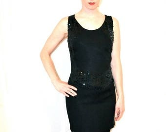 SALE 50% OFF 90s Vintage Black Party Dress with Sequins Size Small/Medium// Vintage 90s Prom Dress Black Sequin Dress Size Small/Medium