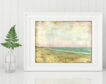 "Beach Print, Narragansett print, Rhode Island print, Ocean Print, Pink Coastal Art, Mixed Media Print 8""x10"" or 11""x14"" print ""Narragansett"""