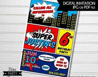 SuperHero Birthday Party PRINTABLE Invitation by Fara Party Design   RETRO Style Superhero   Comics   Digital Invitation