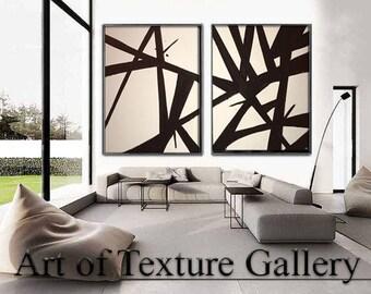 Painting Pair Huge Black White Abstract Painting Custom Original Texture Impasto Minimalist Geometric by Je Hlobik