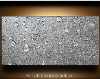 SALE Abstract Texture Painting 72 x 36 Original Modern Huge Silver Pearl Metallic Pearl Sculpture Impasto Oil by Je Hlobik