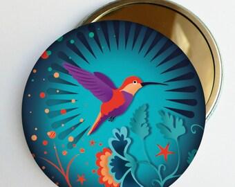 """Miroir de poche """"Libre Colibri"""" bleu ou violet, accessoire de sac, femme, fille,"""