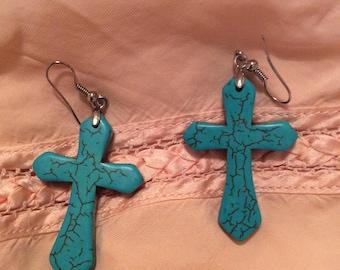 Turquoise earrings pierced  Silvertone big dangle