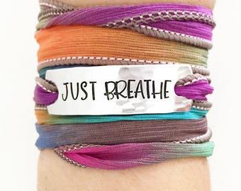 Just Breathe, Wrap Bracelet,Yoga,Yoga Jewelry,Yoga Bracelet, Yoga Wrap Bracelet, Hippie Jewelry, Boho Jewelry, Bohemian Jewelry