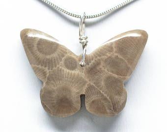 Petoskey Stone Butterfly Pendant