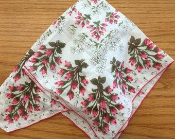 Vintage Pink Rosebud Handkerchief Hanky- wedding handkerchief, rose hanky, pink rose hanky, pink floral handkerchief