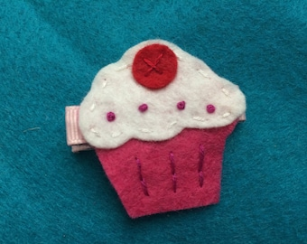 Strawberry Cupcake Felt Hair Bow Clip