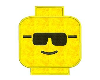 LEGO MAN GLASSES * Machine Applique Embroidery - Instant Digital Download