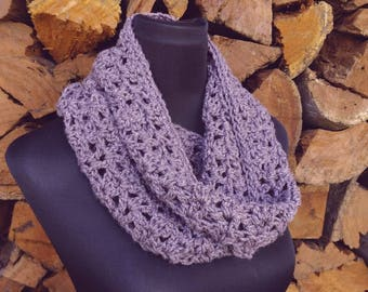 Snood/cowl in purple, READY TO SHIP, 100% Australian made, infinity scarf woman's winter fashion scarf, single loop, circle scarf