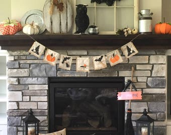 Halloween Banner, Halloween Sign, Halloween Decoration, Halloween Garland, Halloween Bunting, Witch Hat Decor, Halloween Party Photo Prop