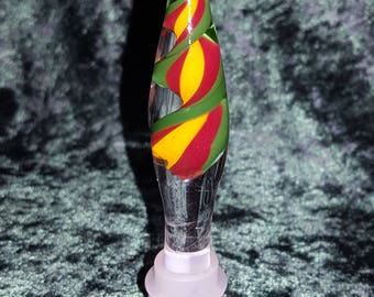 Wine Bottle Stopper Lattichino glass Color Ribbon marble Tear Drop Shapped
