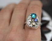 Unique Mothers Ring Sterling Silver Steampunk Ring Custom Made Size 4 5 6 7 8 9 10 11 Steampunk Jewelry Birthstone Ring Watch Ring Unique