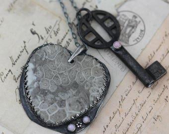 Vintage Skeleton Key Necklace Pink Opal Necklace Sterling Silver Oxidized Heart Necklace Stone Gem Handcrafted 24 Love Gift Black