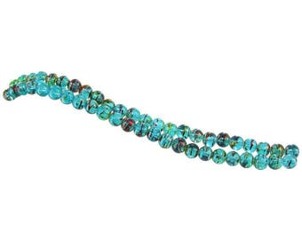 Glass Beads Teal Striped Beads 8mm Beads Wholesale Beads 2 Strands 48 pieces BULK Beads Teal Beads 8mm Glass Beads