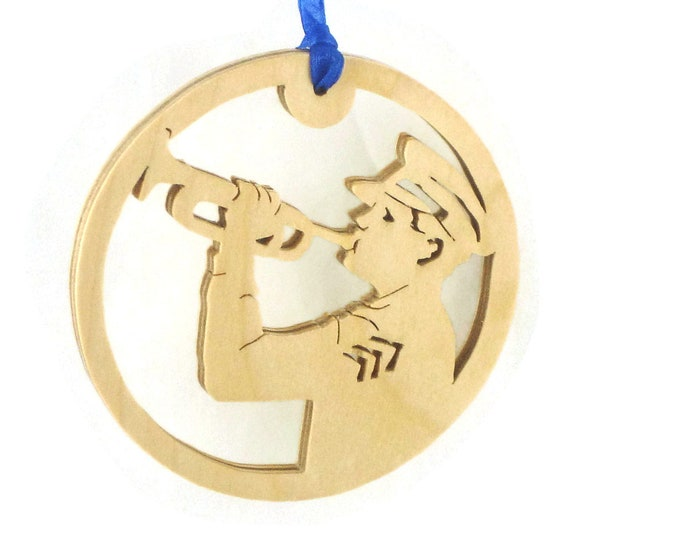 Military Trumpets Sounding For Fallen Soldier Christmas Ornament Handmade From Birch Plywood