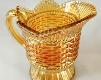 1940s Marigold Westmoreland Carnival Glass Creamer in the  Basket Weave & Cable Pattern Very Elegant Vintage Creamer Gorgeous Ref 19251