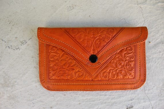 Leather wallet,  leather womens wallet, orange wallet, pochette femme