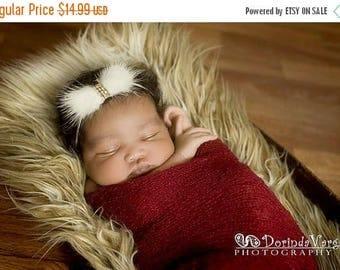 12% off RABBIT FUR Baby headband, newborn headband, adult headband,  and photography prop The single sprinkled Winter elegance fur bow headb