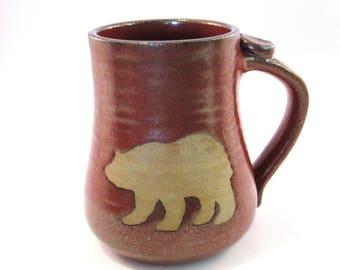 Bear Mug - Rust Red Mug- Handmade Pottery - Pottersong - Bear Silhouette - Coffee Mug - Rustic Rust Red - Brown Bear Mug