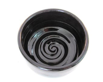 Shaving Bowl - Shave Mug - Ridges for Good Soap Lather - Lather Bowl - Comfort Shave - Handmade Pottery - Pottersong - Black Shave Mug