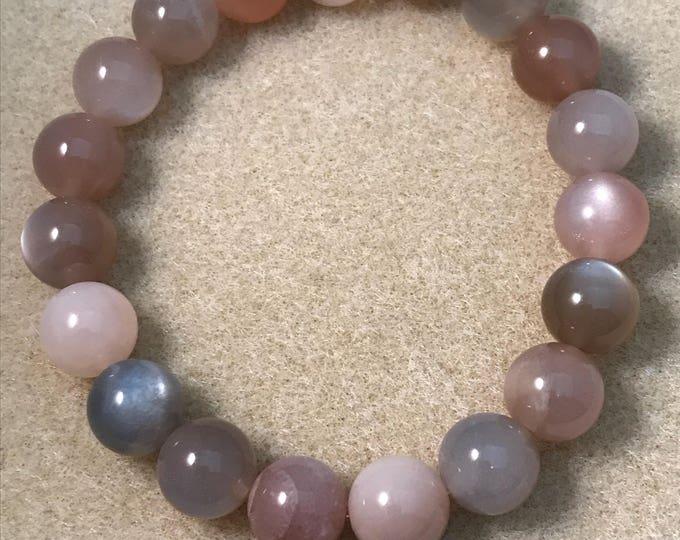 Moonstone Bracelet, Stretch Bracelet, 10mm Beaded Bracelet - Earth tones, white moonstone, black moonstone, peach moonstone, mocha moonstone
