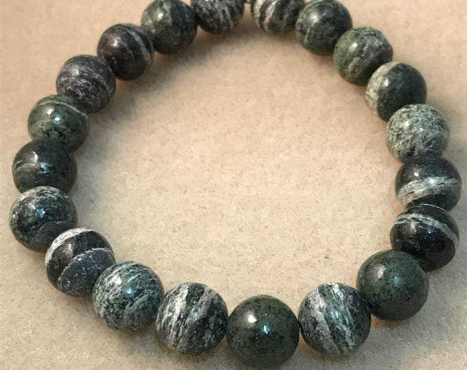 Green Zebra Jasper 10mm Round Bead Stretch Bracelet with Sterling Silver Accent