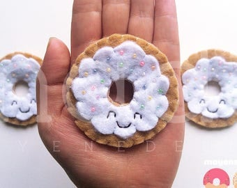 vanilla frosted donut brooch with rainbow sprinkles, felt food pin