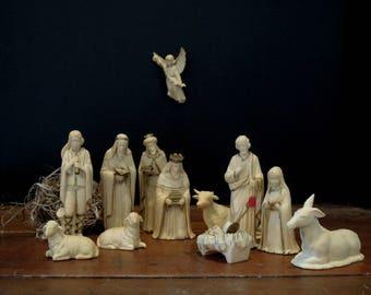 12 Vintage Nativity Figurines / Christmas Nativity / 12 Piece Set / Christmas Decor / Made in Hong Kong