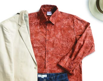 Buttondown Mens Shirt, Brick Red Buttondown Shirt, Boho Mens Shirt, Mens Gift, Boho Batik Shirt