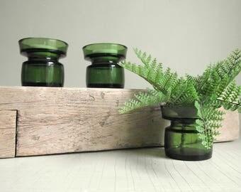 Dansk Tea Light Candle Holders , Set of 3 Vintage Dansk IHQ Green Glass Candle Holders , Jens Quistgaard , Mid Century Danish Modern Decor