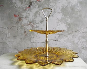 Two Tier Serving Tray , 2-Tier Glass Tidbit Tray , Vintage Dessert Tray , Petal Yellow Federal Glass Company , Pressed Glass