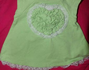 Size 0 to 3 months cute green dress & matching panties with lace trim - kosa1