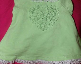 Cute lite green dress & panty set with lace for ages newborn to 3 months - k05a2