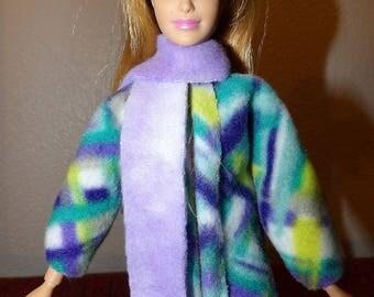 Colorful abstrtact print Fleece short coat & lilac scarf set Fashioon Dolls - ed1049
