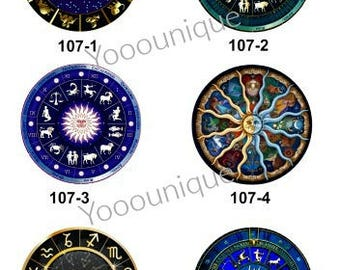 New Collection - 12mm/20mm/25mm/30mm Constellation Handmade Photo Glass Cabochon CPC107