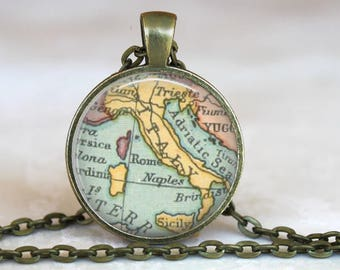 Vintage Map of Italy..Glass Pendant, Necklace or Key Ring
