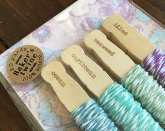 Baker's Twine Kit, bundle of four colors.  20 yards total, 100% cotton twine, made in USA.  Crafting or gift wrap.  Spring Jewels pack.