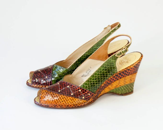 Featured listing image: Vintage Snakeskin Leather Peep Toe Wedge Slingback Shoes. 40s Style 70s Vintage  (9 - 9 1/2 Narrow)