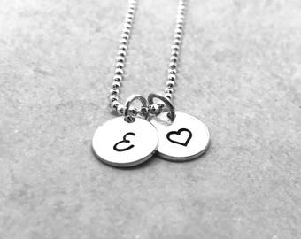 Sterling Silver Initial Necklace with Heart Charm, Letter E Necklace, All Letters Available, Heart Necklace, Personalized Jewelry