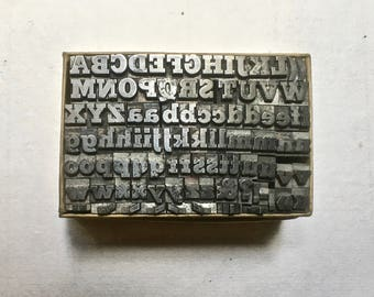 Small Vintage Letterpress Type with Uppercase, Double Lowercase, Numbers and Punctuation for Printing and Stamping