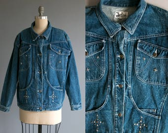 Vintage 1980's Star Studded Jack Set Faded Denim Jacket / Jean Jacket / Metal Studs / Women's Medium