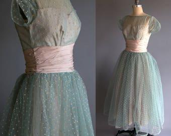 Vintage 1940's Seafoam Blue Tulle Dress / Formal Dress with Polka Dots / 40's Women's / 40's Prom Dress