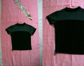 Vintage 1990's Black Mesh and Velvet Short Sleeved Shirt, Women's Goth Grunge, 90's