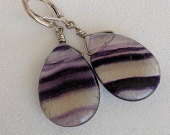 68| Flourite Teardrop Earrings with Sterling lever back ear wires