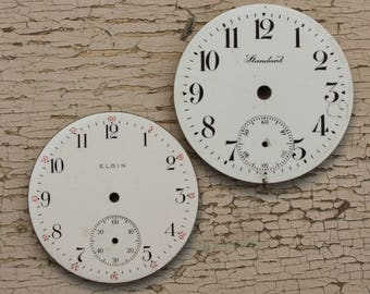 Antique Pocket Watch Faces set of 2 with arabic numbers