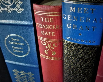 Gold Embossed Books, Colorful Book Set, Vintage Book Set, Red and Blue Books, Embossed Books, Wedding Decor Books, Poems and Classics, Books