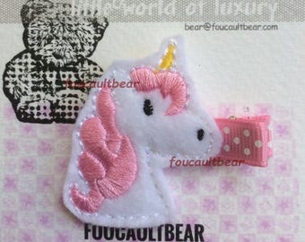 Pink Unicorn Toddler Baby Girls Felt Hair Clippie Clip