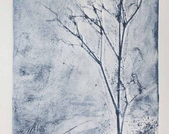 Original collagraph print of a winter tree the first print in a limited edition of three with one proof print