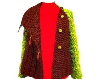 Chunky Sweater, Sweater Jacket, Boho Women's Sweater, Boho Clothing, Warm Sweater, Bohemian Sweater,  Funky Sweater, Warm Winter Sweater